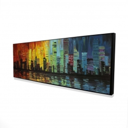 Framed 16 x 48 - 3D - City with color tones