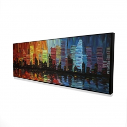 Framed 16 x 48 - 3D - Colorful cityscape