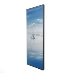 Framed 16 x 48 - 3D - Sailboats on the quiet lake