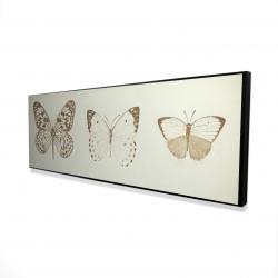 Framed 16 x 48 - 3D - Sepia butterflies