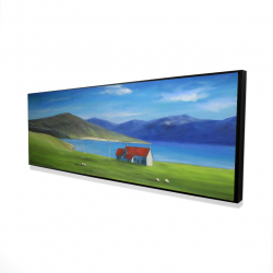 Framed 16 x 48 - 3D - Scottish highlands with a little red roof house