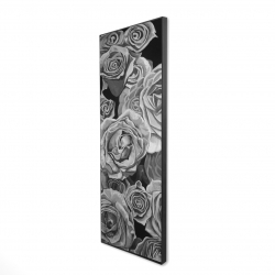 Framed 16 x 48 - 3D - Grayscale roses