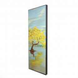 Framed 16 x 48 - 3D - Spring lanscape with a tree in a lake