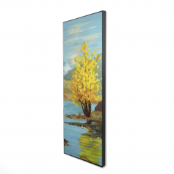 Framed 16 x 48 - 3D - Lake landscape with a tree and reflection