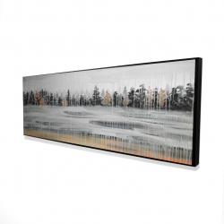 Framed 16 x 48 - 3D - Fall rainy day landscape with trees