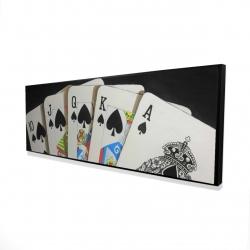 Framed 16 x 48 - 3D - Card game spades royal flush closeup