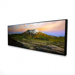 Framed 16 x 48 - 3D - Valley and mountains landscape