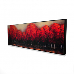Framed 16 x 48 - 3D - Red trees by a dark day