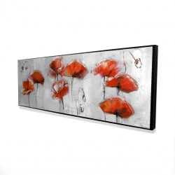 Framed 16 x 48 - 3D - Red flowers
