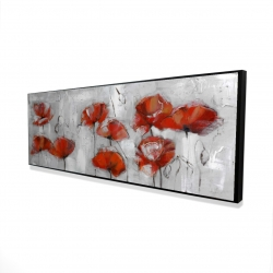 Framed 16 x 48 - 3D - Abstract poppies