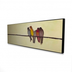 Framed 16 x 48 - 3D - Five birds on a branch