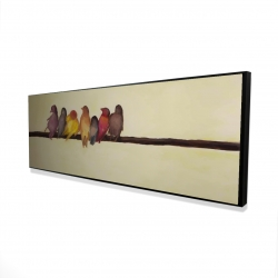 Framed 16 x 48 - 3D - Bird family