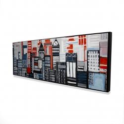 Framed 16 x 48 - 3D - Geometric urban landscape