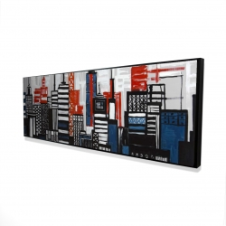 Framed 16 x 48 - 3D - Geometric towers and buildings