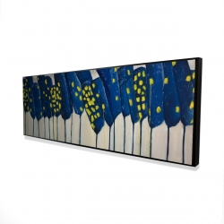 Framed 16 x 48 - 3D - Abstract blue flowers