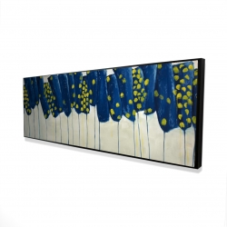 Framed 16 x 48 - 3D - Abstract blue and yellow flowers