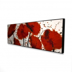 Framed 16 x 48 - 3D - Abstract paint splash red flowers