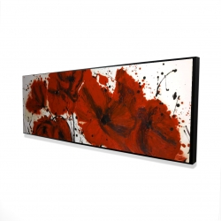 Framed 16 x 48 - 3D - Abstract red flowers field