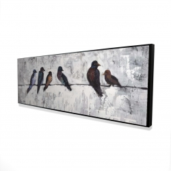 Framed 16 x 48 - 3D - Colorful birds on branches