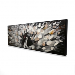Framed 16 x 48 - 3D - Spotted abstract peacock