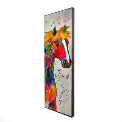 Framed 16 x 48 - 3D - Abstract colorful horse with paint splash