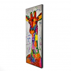 Framed 16 x 48 - 3D - Abstract colorful giraffe with paint splash