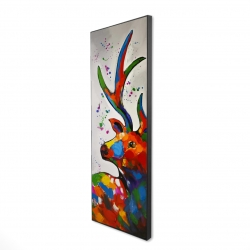 Framed 16 x 48 - 3D - Abstract colorful deer with paint splash