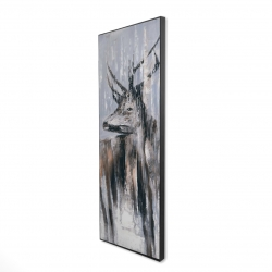 Framed 16 x 48 - 3D - Deer in the forest by a rainy day