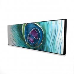 Framed 16 x 48 - 3D - Peacock feather closeup