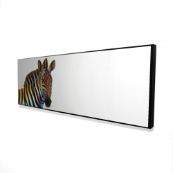 Framed 16 x 48 - 3D - Colorful profile view of a zebra