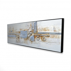 Framed 16 x 48 - 3D - Abstract shape with metal looking finish