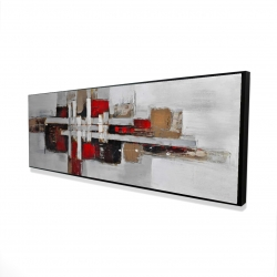 Framed 16 x 48 - 3D - Abstract shapes with red accents
