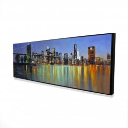 Framed 16 x 48 - 3D - Colorful city with a bridge by night