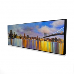 Framed 16 x 48 - 3D - Colorful city with a bridge by day