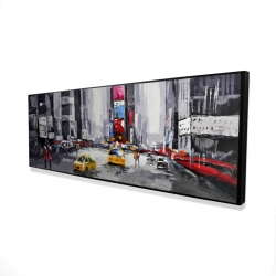 Framed 16 x 48 - 3D - Abstract street with yellow taxis