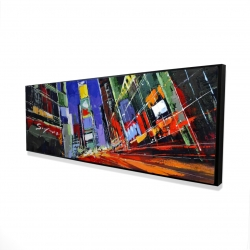 Framed 16 x 48 - 3D - Colorful times square by night