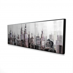 Framed 16 x 48 - 3D - Abstract grayscale cityscape