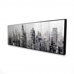 Framed 16 x 48 - 3D - Gray city with splash painting