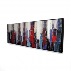 Framed 16 x 48 - 3D - Abstract red and blue buildings