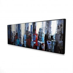 Framed 16 x 48 - 3D - Abstract blue city