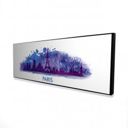 Framed 16 x 48 - 3D - Paint splash silhouette of paris