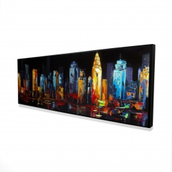 Framed 16 x 48 - 3D - Colorful abstract cityscape on a dark background