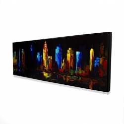 Framed 16 x 48 - 3D - Colorful buildings on a dark background