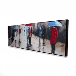 Framed 16 x 48 - 3D - People with umbrellas in the street