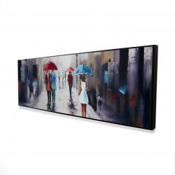 Framed 16 x 48 - 3D - White dress woman walking down the street