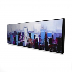 Framed 16 x 48 - 3D - Abstract blue & purple city