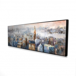 Framed 16 x 48 - 3D - Abstract new york city