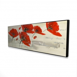 Framed 16 x 48 - 3D - Abstract red flowers in the wind