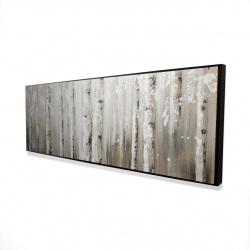 Framed 16 x 48 - 3D - White birches on gray background