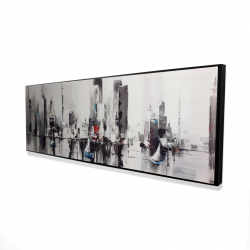 Framed 16 x 48 - 3D - Abstract boats with cityscape